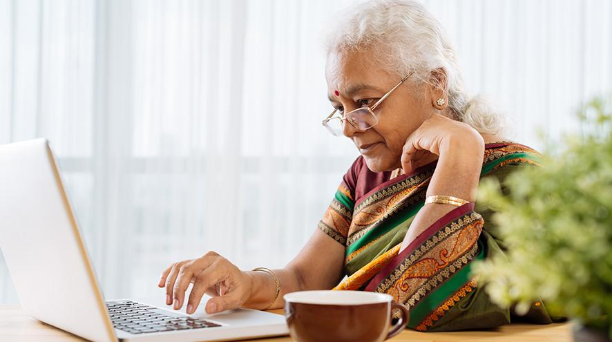 Female on her laptop