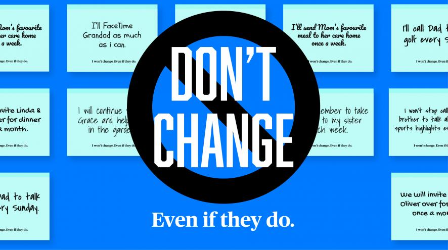"""Don't change"" campaign graphic"