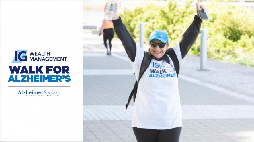 IG Wealth Management Walk for Alzheimer's logo and photo of woman walking for the event