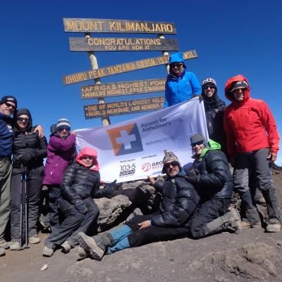 Erika Durlacher and the team of committed fundraisers on Mt. Kilimanjaro in 2015