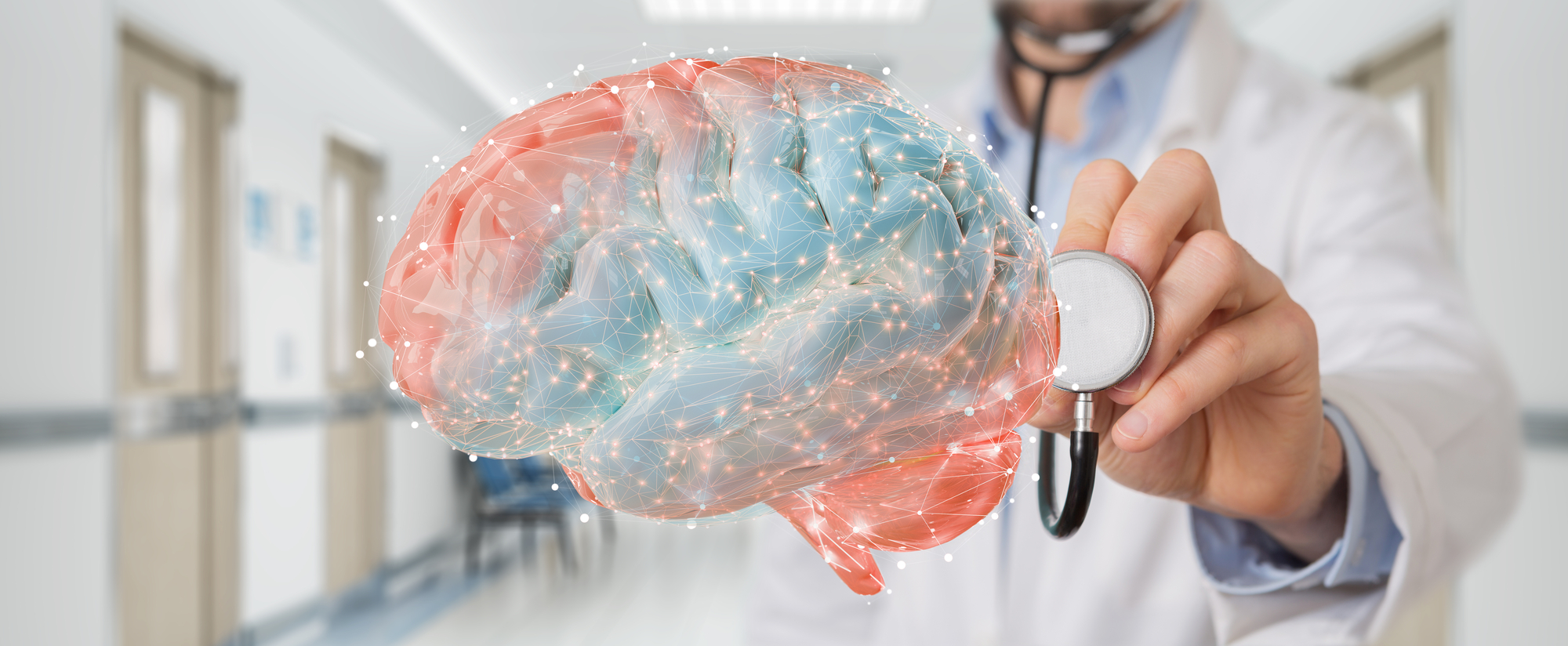 health-care professional blurred out in background with a stethoscope on a rainbow coloured brain