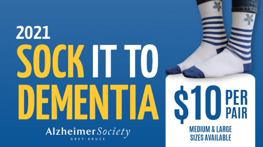 Sock it to dementia, picture of socks, $10 per pair