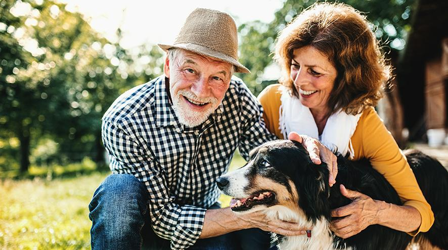 Senior couple playing with their dog.