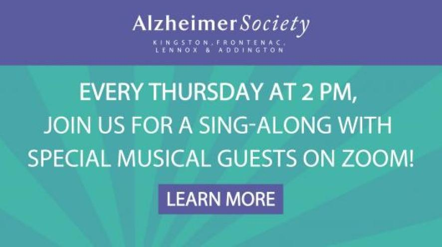 Every Thursday at 2pm, join us for a sing-along with special musical guests on Zoom!
