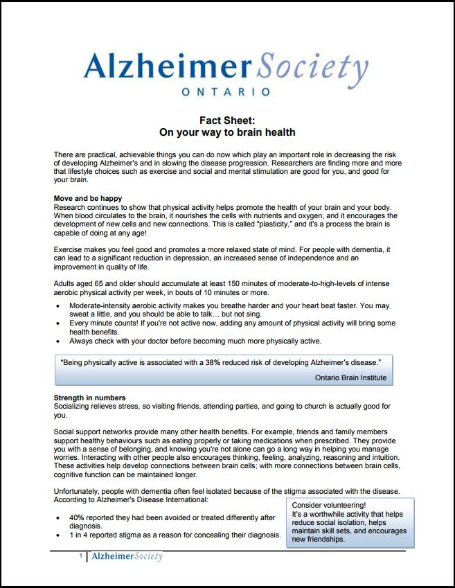 Alzheimer Society Fact Sheet: On your way to brain health