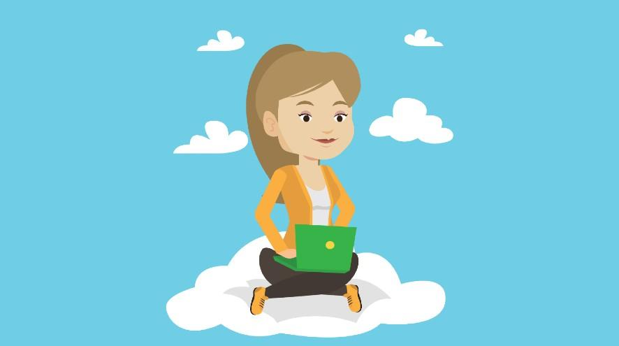 vector woman sitting on cloud with laptop