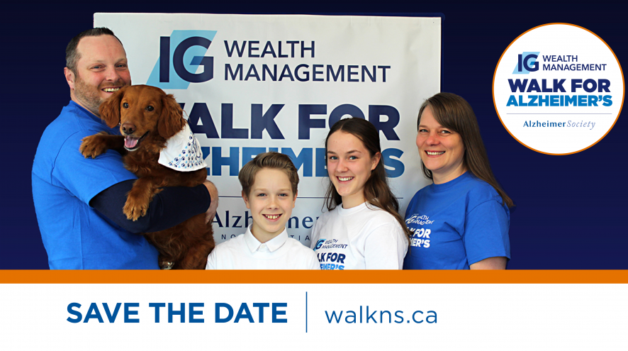 Family wearing IG Wealth Management Walk for Alzheimer's t-shirts