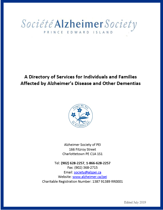 Alzheimer Society of PEI Resource directory 2019 cover.