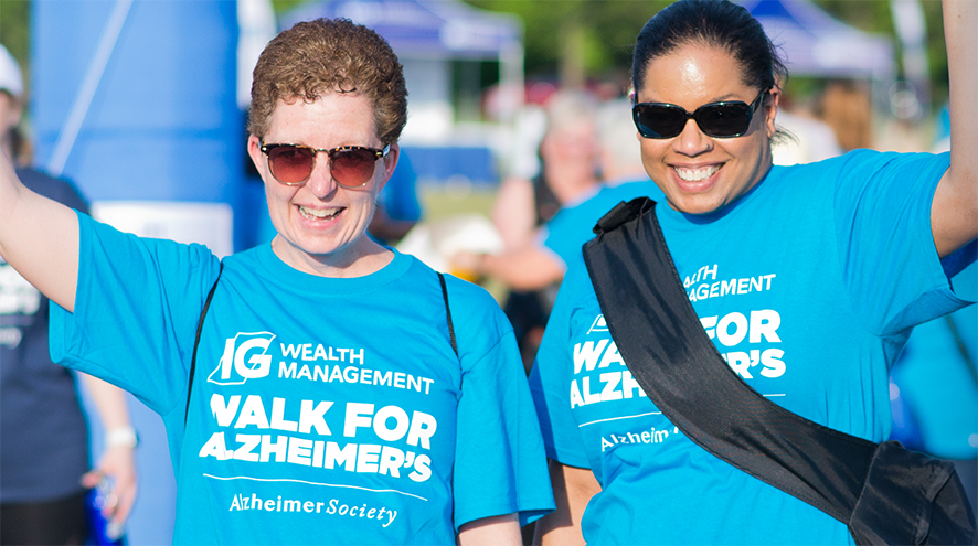 Pair of friends participating in the IG Wealth Management Walk for Alzheimer's.