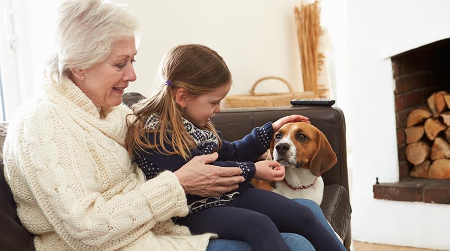 Grandmother and granddaughter petting the family beagle.