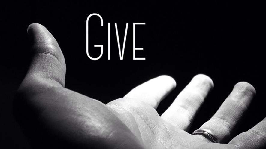 Give (with hand outstretched).