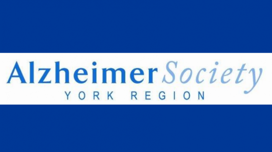 Logo for Alzheimer Society of York Region on a blue background.