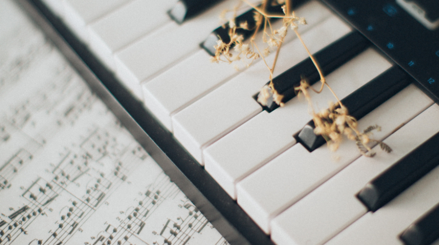 Image of a keyboard with dried grass on the keys and music composition beside it.