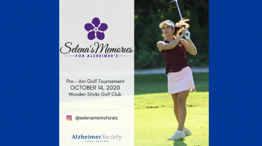 Selena Costabile playing golf with the name of her tournament - Selena's Memories for Alzheimer's and contact information beside her picture on a blue background