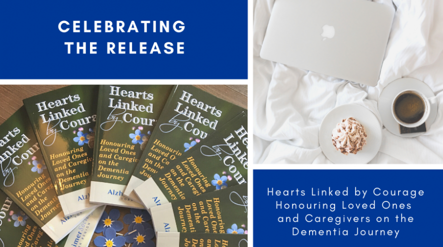 Images of Hearts Linked by Courage book, laptop and coffee talking about AS York's new book