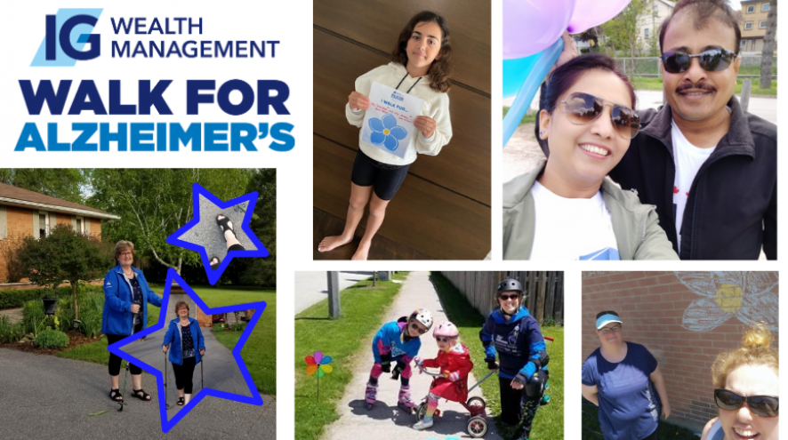Four photos of 2020 participants of the IG Wealth Management Walk for Alzheimer's